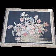 Vintage Floral Basket Bouquet Wall Tapestry Belgium Rug Tulip & Rose