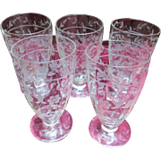 Wonderful Antique Hand Engraved Parfait Cup Etched Crystal Glass
