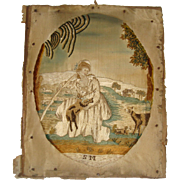 Early silk work picture with sheep and dogs - Red Tag Sale Item