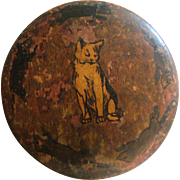 Early circular wooden box with hand painted cat and rats