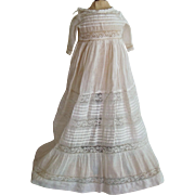 Beautiful hand made dress with lace inserts for wax doll