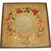 Edwardian embroidered silk frame with flowers