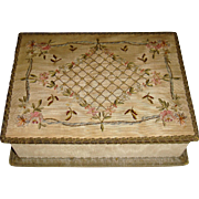 Pretty silk covered sewing box with ribbon work