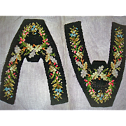 Pair Antique slipper fronts with beadwork