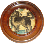 Antique small silk embroidered picture of dog