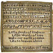 Sampler by Elizabeth A Wenden dated 1864