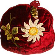 Stunning Victorian velvet and embroidered tea cosy