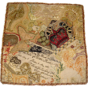 Rare Victorian sampler of embroidered bank note