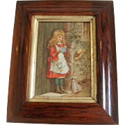 Small 19th century water colour of girl with doll