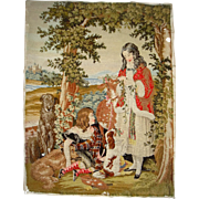 Large early 19th century needle point with dogs and children