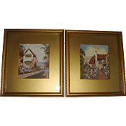 Pair of watercolors of English country Cottages
