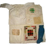 Child's sampler pieces by Mildred Hill aged 9