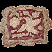 Georgian bead work pin cushion with bird