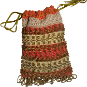 Delightful small early bead bag for doll