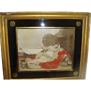 Early silk work picture in original eglomise frame