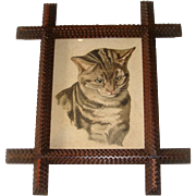 Victorian watercolor of cat in tramp art frame