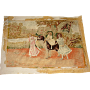 Needlepoint picture of children and St Bernard dog