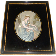 Beautiful silk picture of lady and lamb eglomise frame