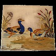 Early 19th century needle point of ducks