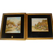 Pair of painted and embroidered Victorian pictures English Country Cottages