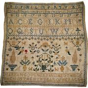 Alphabet sampler dated 1845 by Maryan coucher