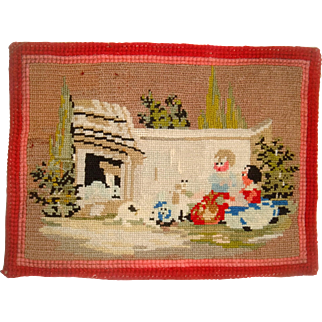 Early miniature wool work for dolls house rug