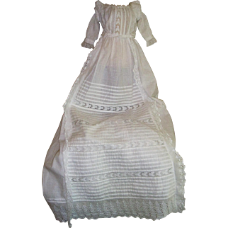Unusual Antique christening gown with puff sleeves