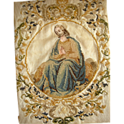 Early 19th century religious embroidery on silk