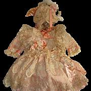 Wonderful doll dress and bonnet of antique lace