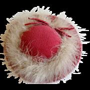 Pink felt trimmed doll hat