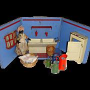 Rare tin plate laundry room setting