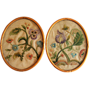 Pair of 19th century embroidered pictures of flowers