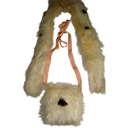 Delightful rabbit fur stole and muff for doll