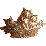 Amazing tiny basket of kittens brass button
