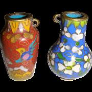 Pair of miniature cloisonne vases