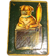 Tiny box with pug dog on