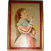Miniature box with girl with butterfly