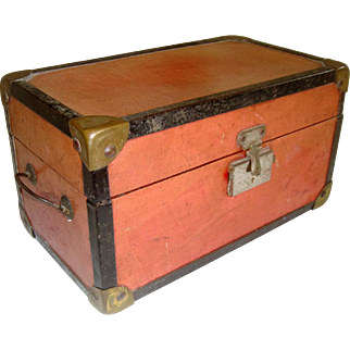 Old red doll trunk