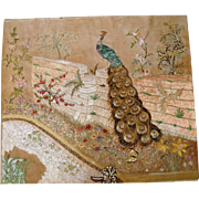 Large silk embroidery peacock and flowers