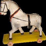 Wooden German horse on wheels