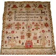 Sampler dated 1847 with house