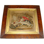 Early petit point picture of cat and monkey