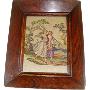 Early petit point picture ladies with butterfly nets
