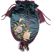 Beautiful early silk embroidered bag with butterflies and flowers