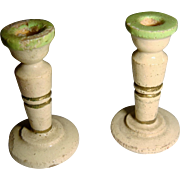 Pair of wooden painted miniature candle sticks