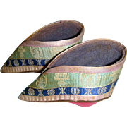 Antique small Chinese silk covered shoes