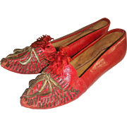 Antique embroidered red leather shoes