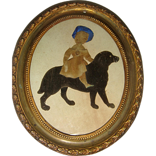 Early applique picture girl with dog
