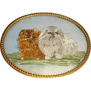 Delightful antique miniature silk work picture of Pekingese dogs