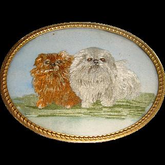 Delightful antique miniature silk work picture of Pekingese dogs